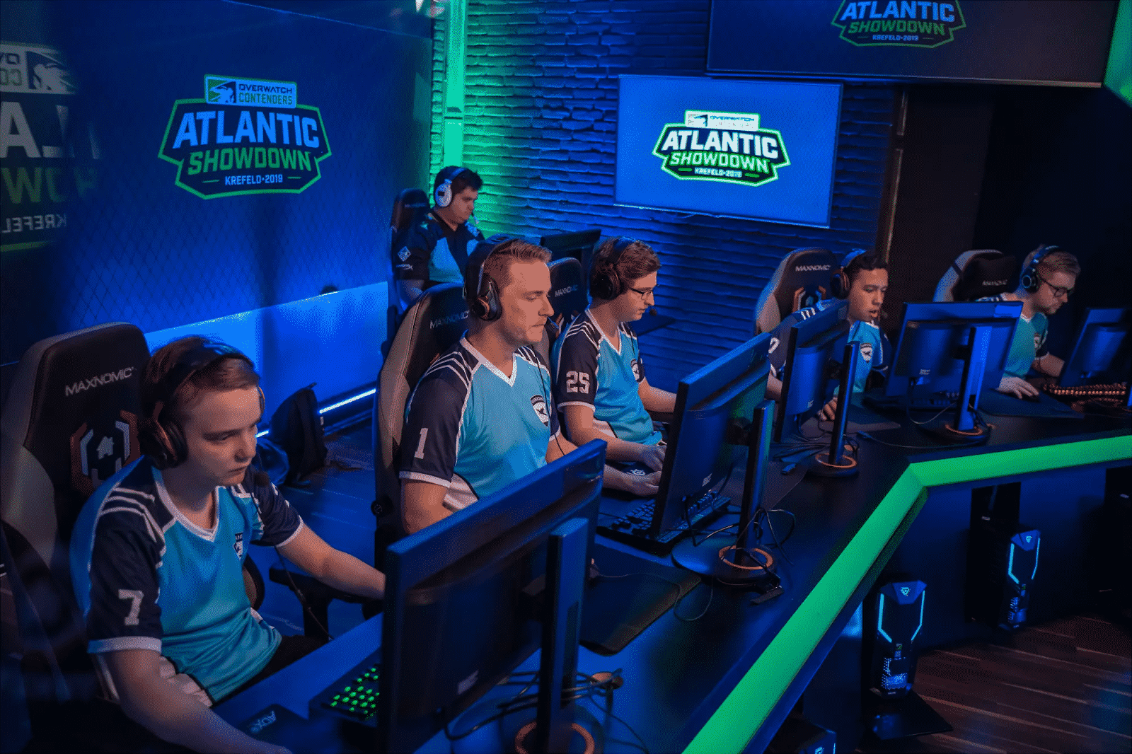 The London Spitfire's academy team, British Hurricane, behind their PC's during the Atlantic Showdown in 2019