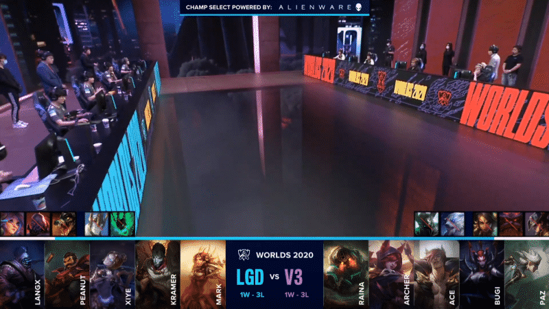 A shot of the LoL World Championship stage with LGD and V3 waiting to being a match with their team compositions below