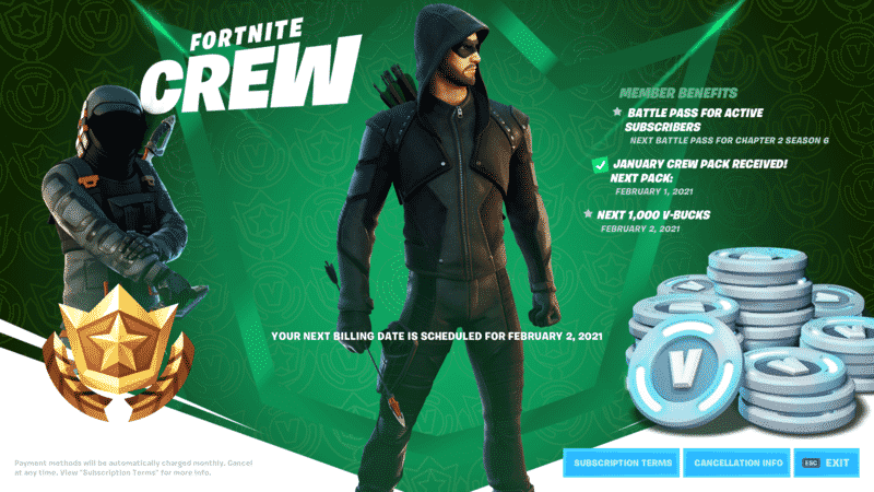 """A Fortnite character in rogue's gear is shown in the middle next to a pile of V-bucks to one side and an astronaut on the other side with the words """"Fortnite Crew"""" in the corner and more text scattered throughout with a green and white background"""