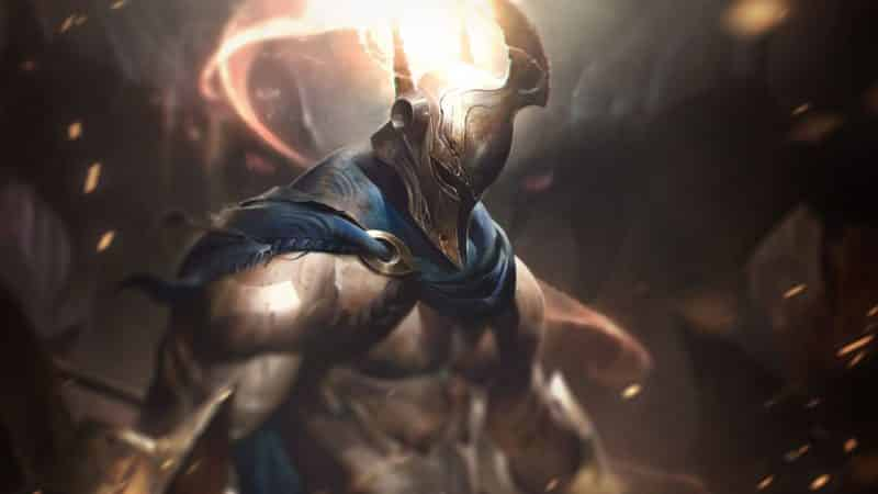 The LoL Champion, Pantheon, walks toward an opponent in his flaming helmet