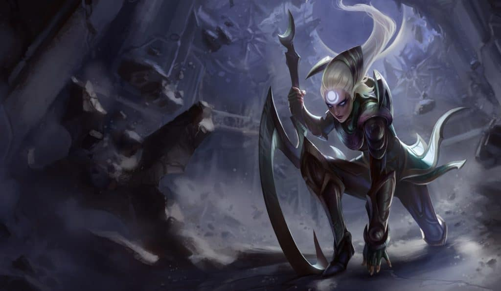 League of Legends champion Diana splash art, showing her kneeling down in a dim cave wielding her scythe weapon.